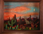 A surrealistic desert scene not lacking in whimsy